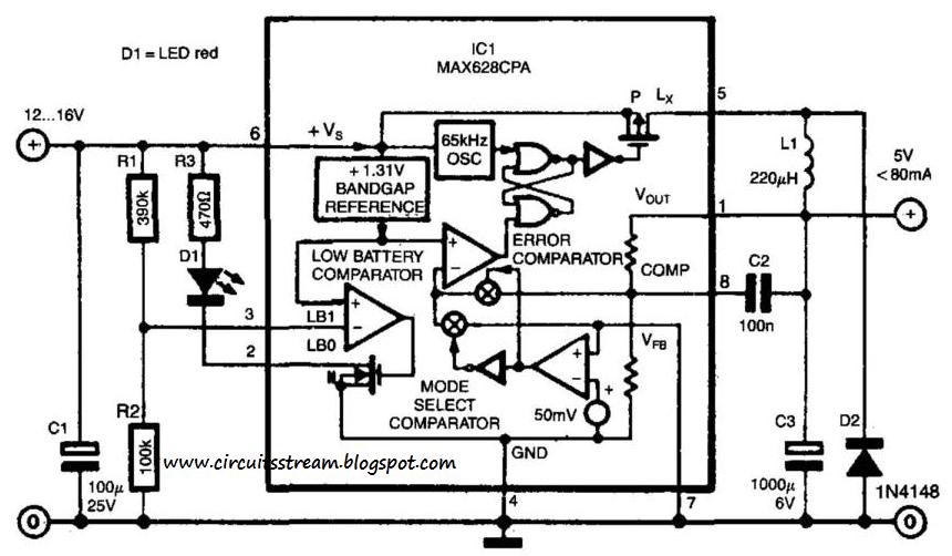 simple switch mode voltage regulator circuit diagram electronic circuit diagrams schematics