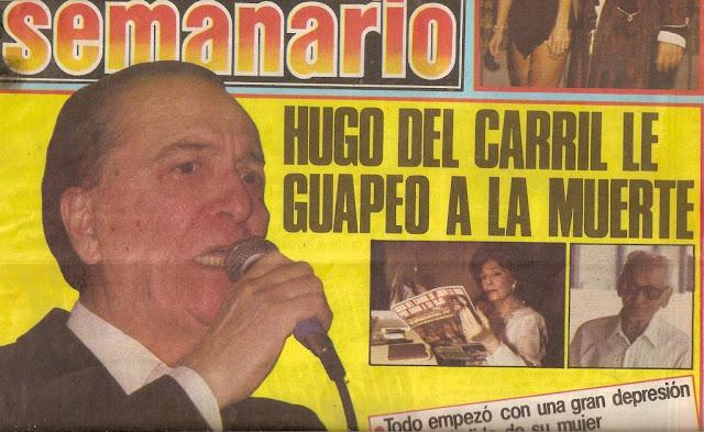 Prensa al salir de internacion de Hugo del Carril, diarios