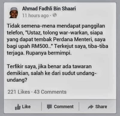 Seorang Ustaz Mendapat Tawaran RM500 Untuk Tembak PM Najib
