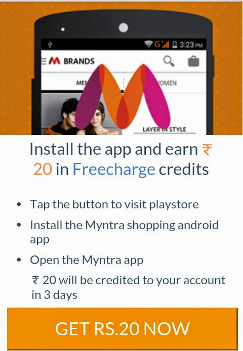 Install Myntra App and Earn Rs 20 Freecharge Credits