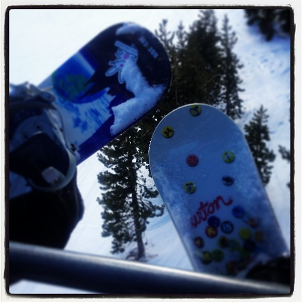 Our snow boards on the ski lift