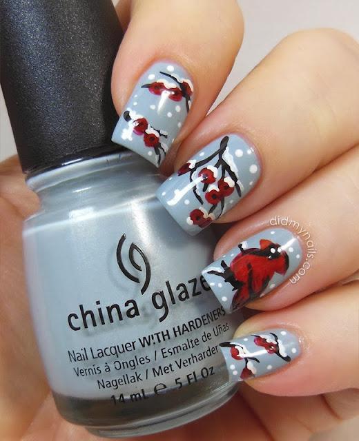 Christmas cardinal nail art