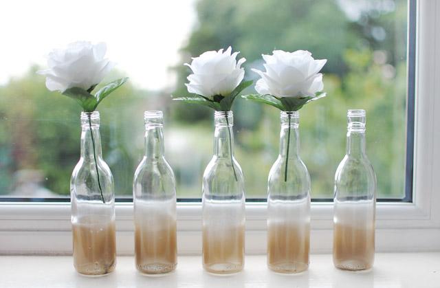 Vase diy glass bottles spray paint