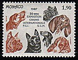 1987年モナコ公国 ケアーン・テリア サルーキ ビーグル ボクサー ジャーマン・シェパードなどの切手