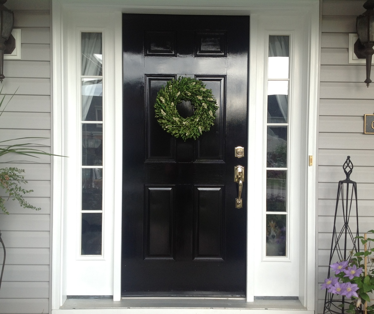 1024 #4B5A35 Glossy Black On The Inside Of The Front Door Is A Hot Trend I Just  wallpaper Black Front Doors With Glass 43451220