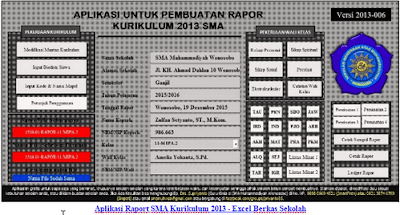 Aplikasi Raport SMA Kurikulum 2013 - Excel Berkas Sekolah