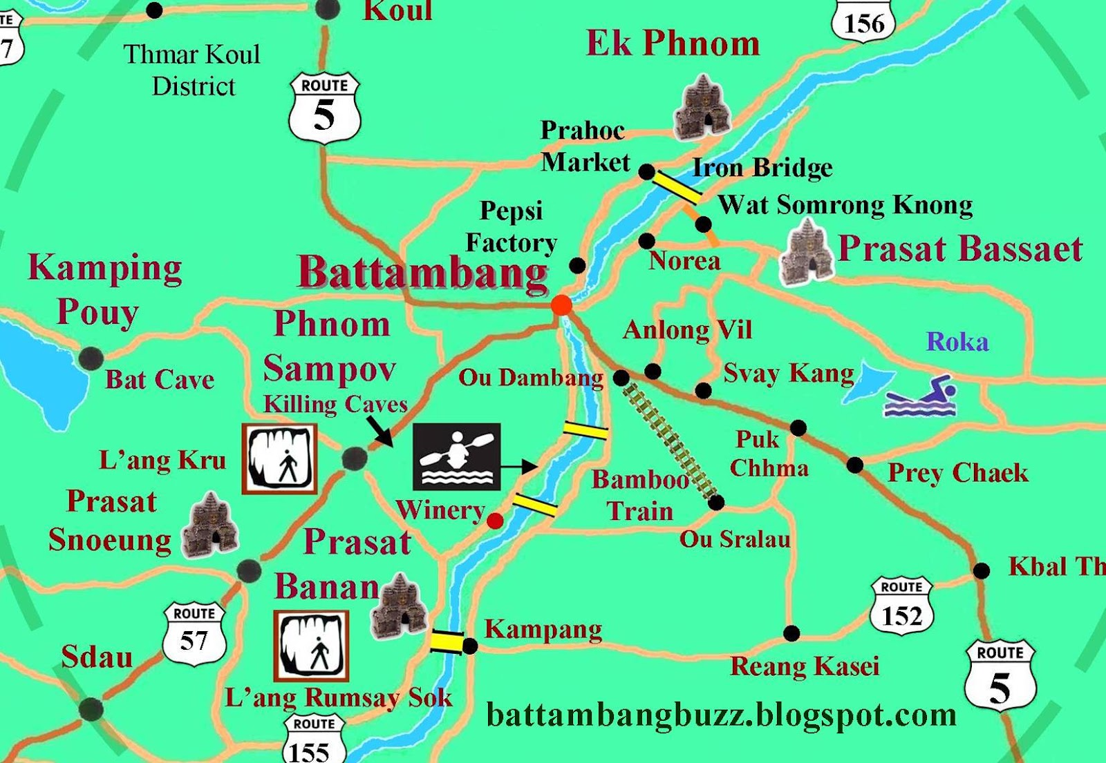 Pailin Cambodia  city pictures gallery : Tourist Site Map Battambang Province and Pailin 2016 . Cambodia.