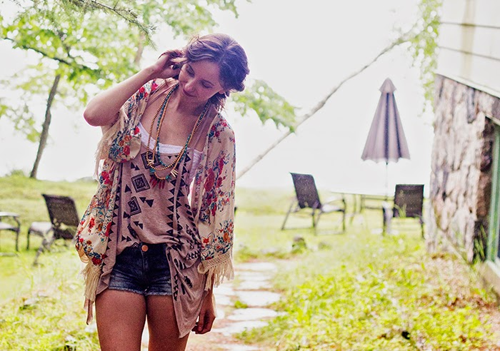 Floral-fringe-kimono-tribal-tank-cut-off-shorts