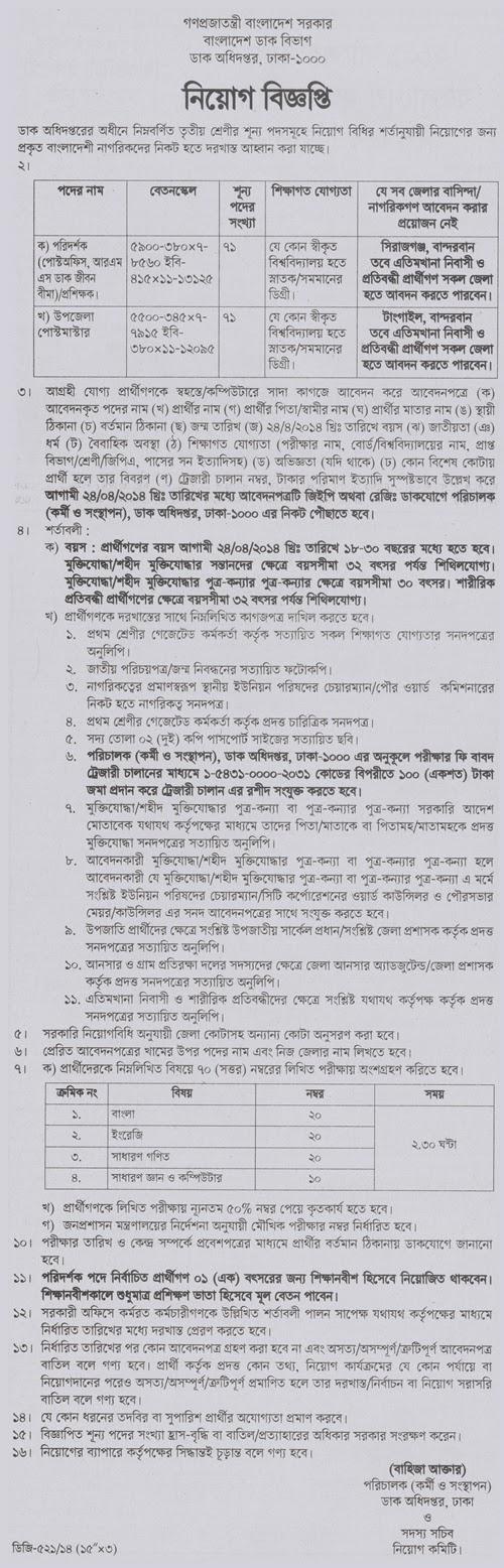 বাংলাদেশ ডাক বিভাগ নিয়োগ বিজ্ঞপ্তি ( Bangladesh post office circular  )