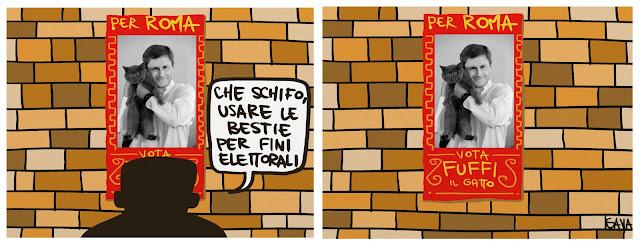 gava gavavenezia vignette satira illustrazioni infanzia cartoons fumetti caricature ridere pensare piangere alemanno gatto roma sindaco destra animali fascio