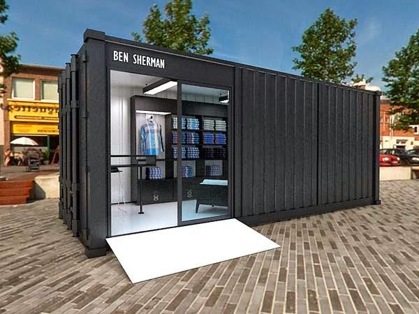 Casas contenedores dise o de peque a tienda en un contenedor - Diseno de casas con contenedores ...