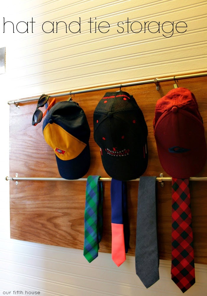 hat and tie storage in a closet