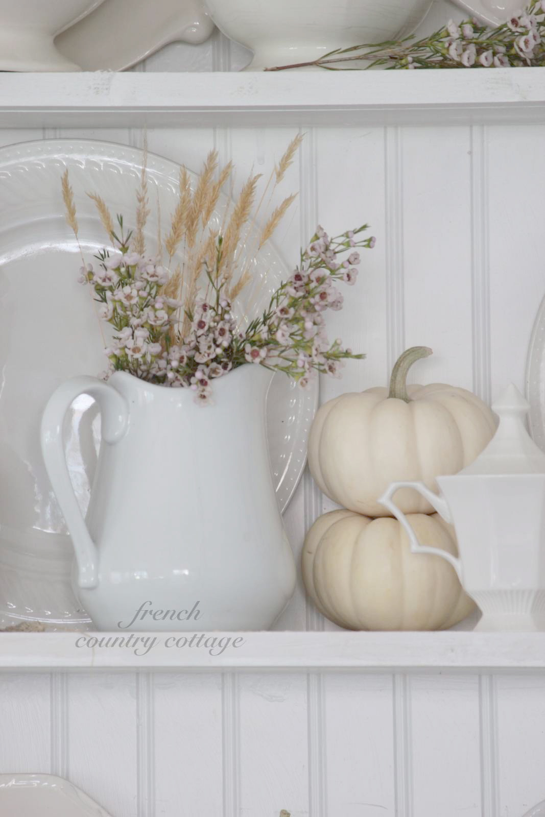 White dishes dressed for fall french country cottage for French country white