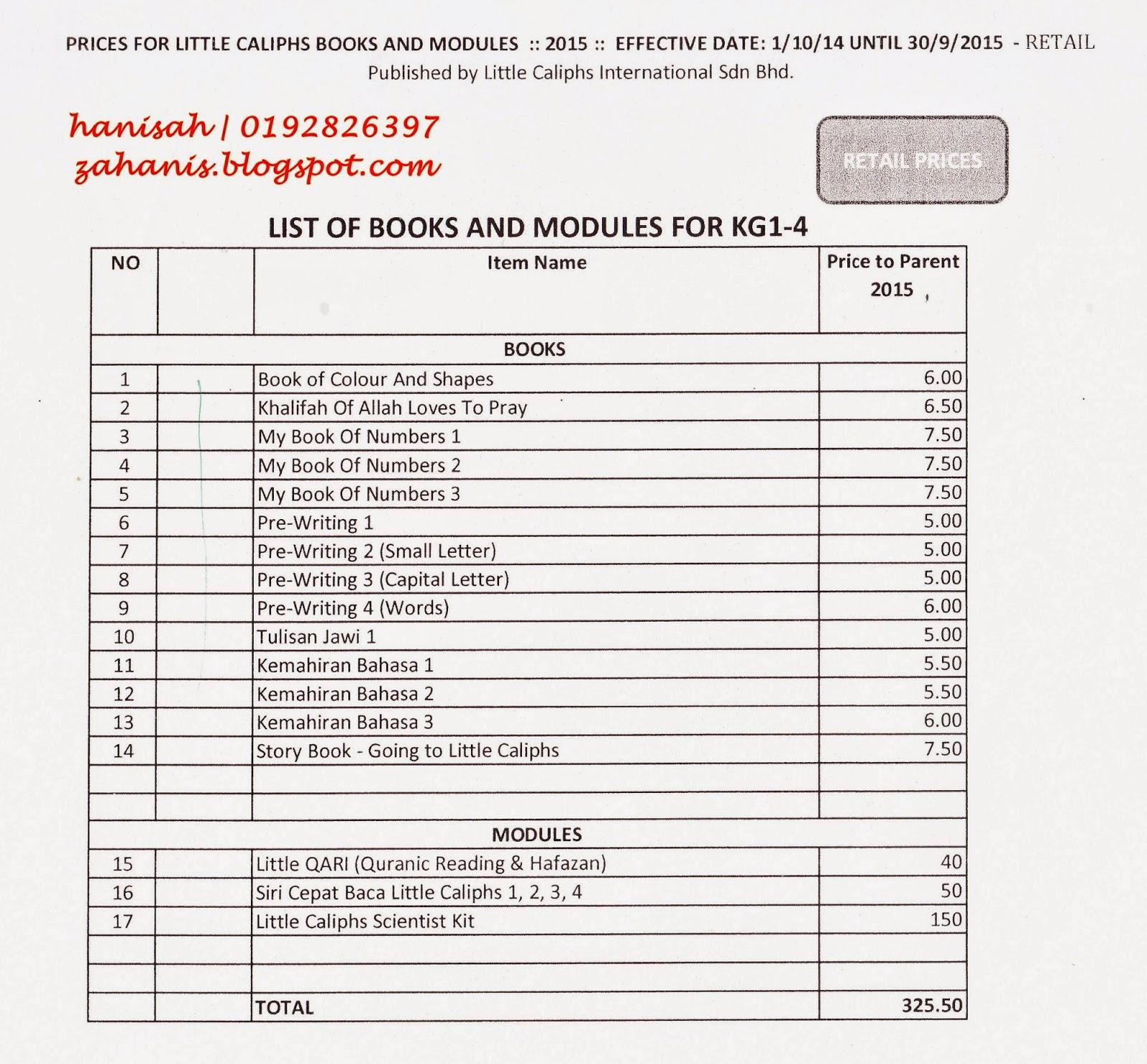 senarai buku little caliph 2015