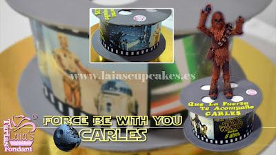 Tarta de fondant personalizada Star Wars Chewbacca Guerra de las Galaxias Laia's Cupcakes Puerto Sagunto