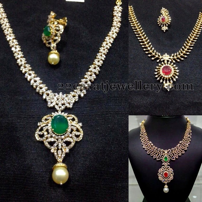 Elegant yet Simple Diamond Necklaces - Jewellery Designs