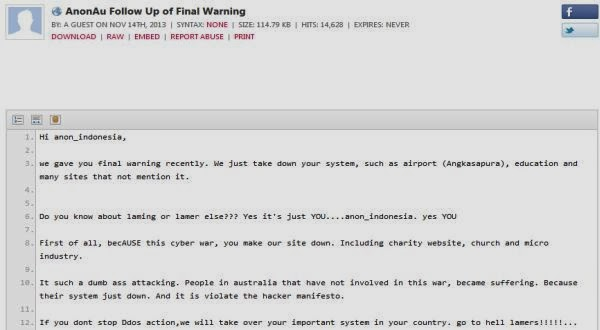 Screenshot posting-an Anonymous Australia di Pastebin