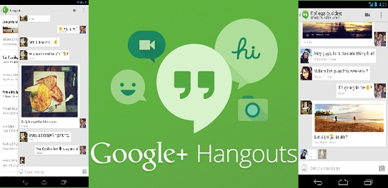 Google hangouts for messaing and video calls