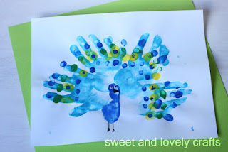 Peacock Craft made from handprints &amp; fingerprints