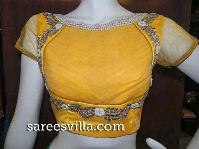 Yellow Designer Work Blouse