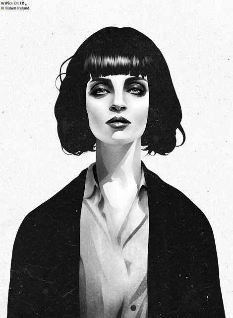 Ruben Ireland  paintings : Black And White  : Girls