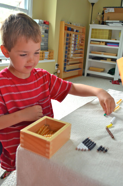 child working Montessori addition snake game