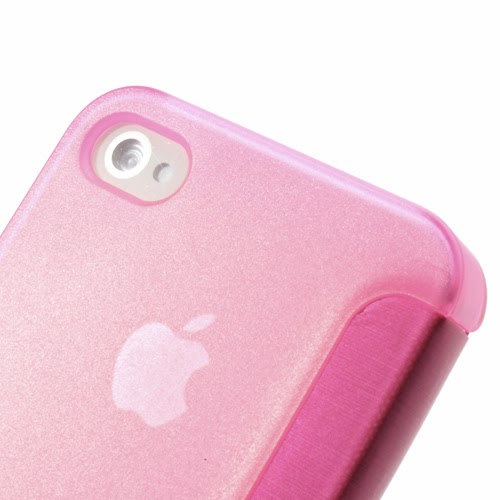 Window View Leather Flip Cover with Transparent Back Case for iPhone 4 4S - Pink
