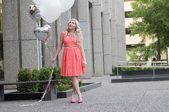 Jennifer Ashley, Canadian fashion blogger, in a coral lace dress from Sears Canada.