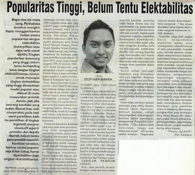 Popularitas Tinggi, Belum Tentu Elektabilitas, Cecep Husni Mubarok, Rakyat Cirebon