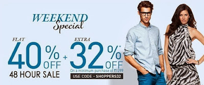 Jabong Offer:  Enjoy FLAT 40% + EXTRA 32% OFF on Men's / Women's Fashionwears
