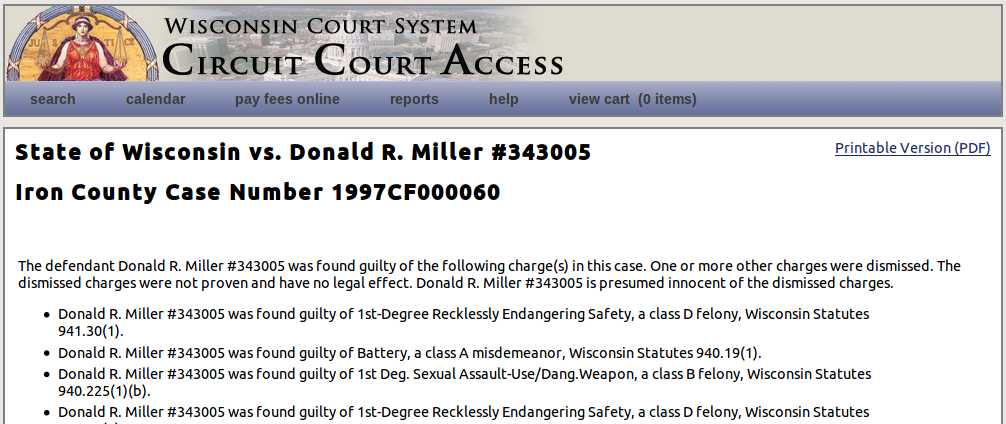 Wisconsin circuit court access page
