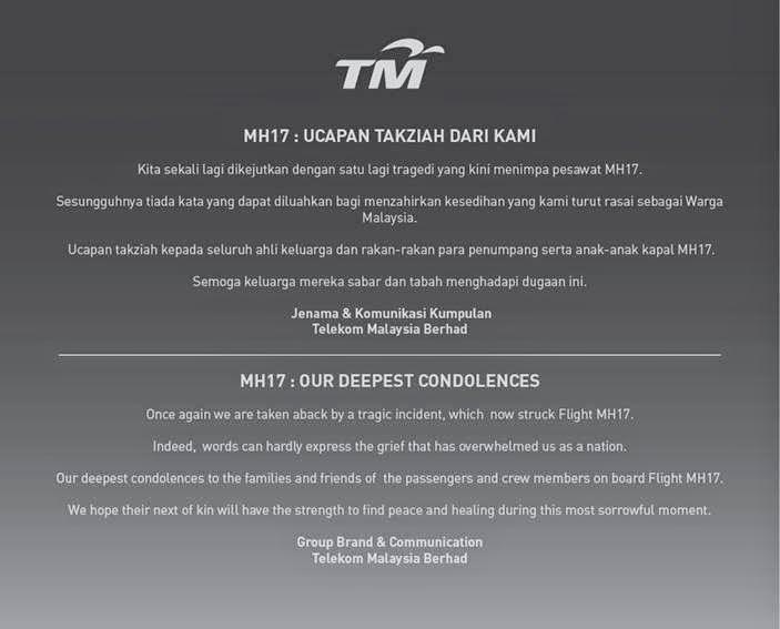 Our Heartfelt Condolences for MH17