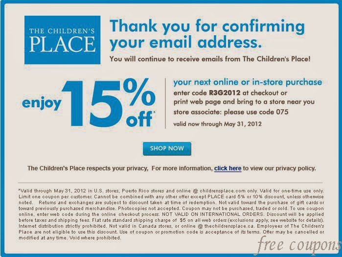 The children's place canada coupons april 2018