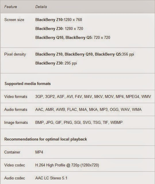 Blackberry Z10/Z30 Video codec support