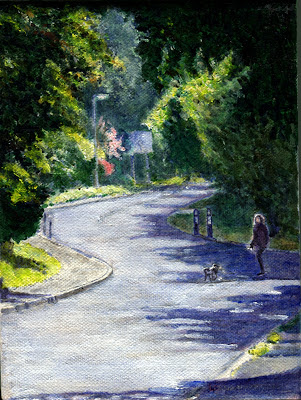 oil paint of road with last of summer colour leaving Eynsham