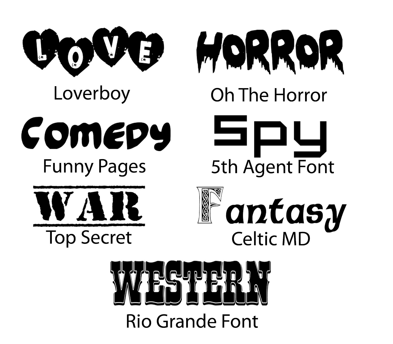 different types of fonts The dingbat pages even have a cartoon selection including snoopy and bart  simson free ttf fonts a list of telegraph fonts including two free downloadable .