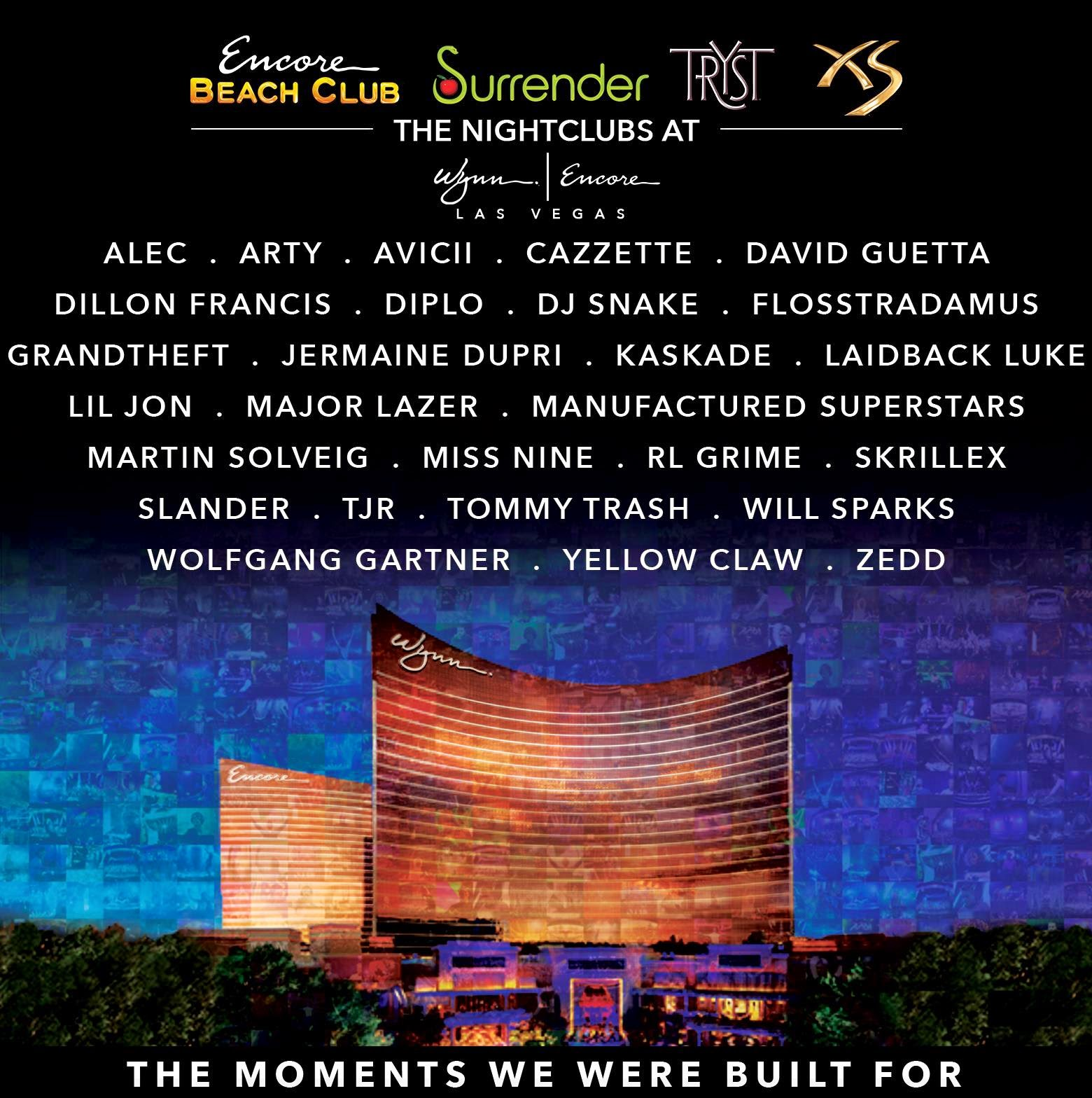 XS, Encore Beach Club, Surrender, & Tryst 2015 Exclusive Residency ...