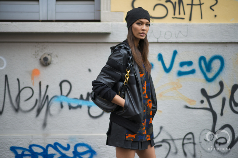 Model Joan Smalls wears Givenchy during Milan Fashion Week 2014 Fall Winter MFW