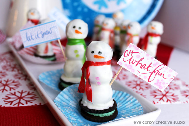 snowmen made from oreo cookie balls, how to make snowman treats