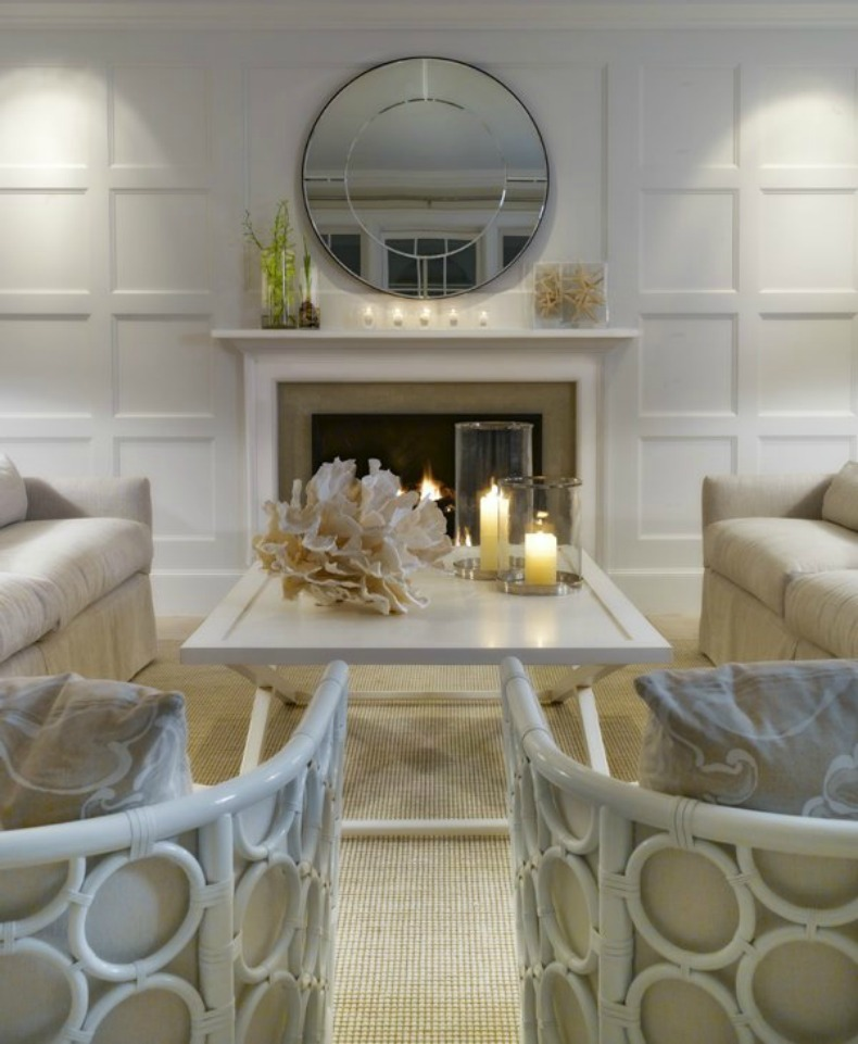 Asian inspired coastal living room