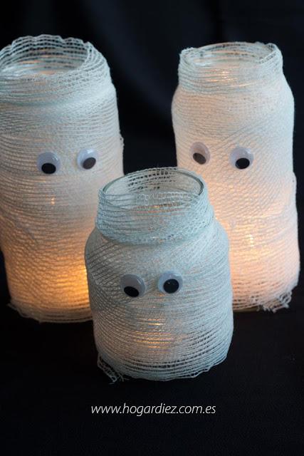 Portavelas momia para halloween