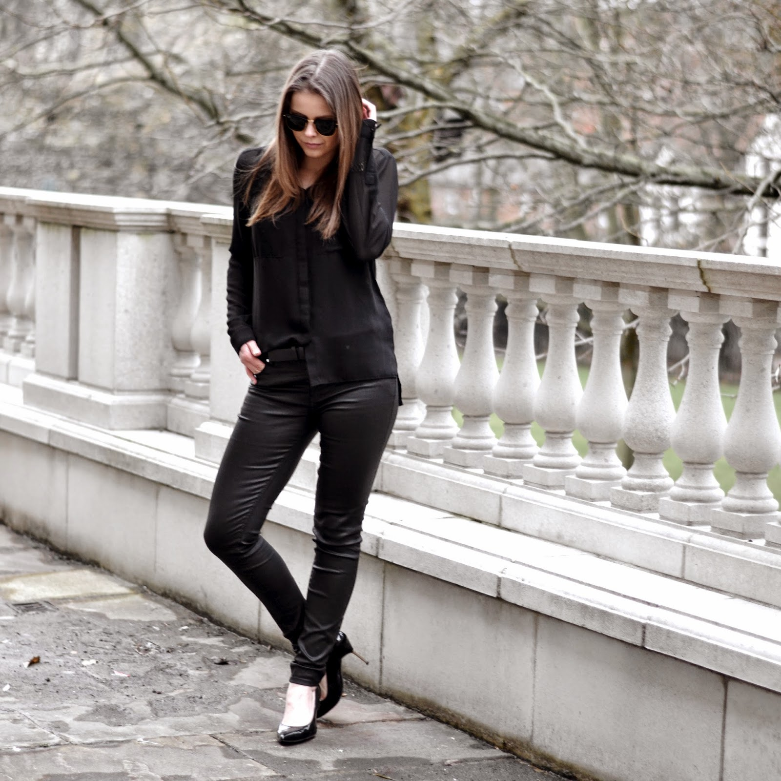 Black Blouse Leather Trousers Street Style