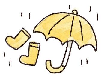 雨のイラスト「傘と長靴」