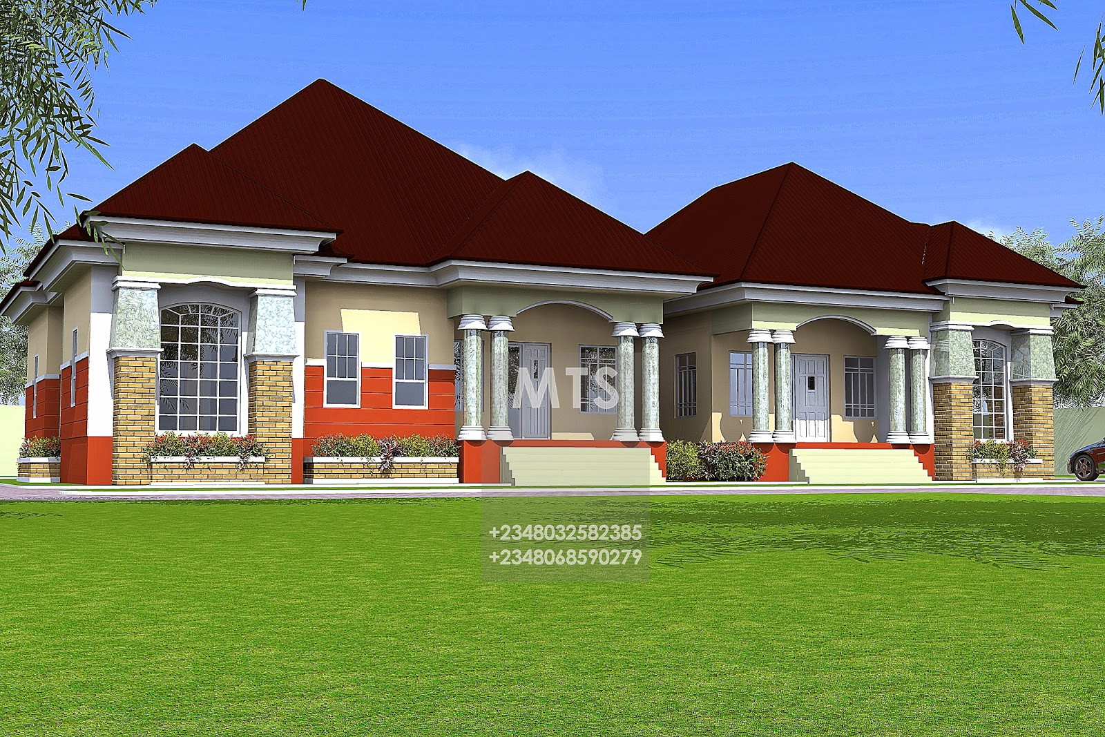 Residential homes and public designs for 3 rooms bungalow house
