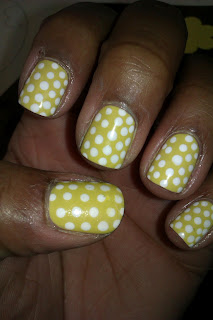 Yellow, white, polka dot, nail art, mani