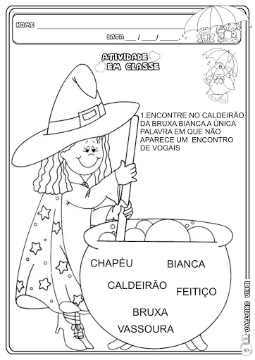 Atividade Encontro Vocálico Temática Halloween Caderno Linguagem Jardim da Fantasia