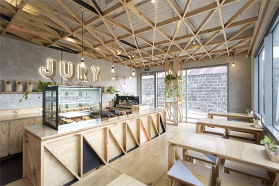 decoracao cafeteria, cores pasteis, tons pasteis, madeira, coffee