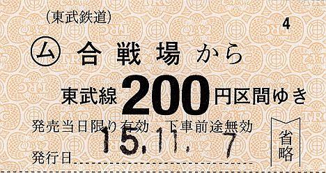 東武鉄道 常備軟券乗車券8 日光線 合戦場駅
