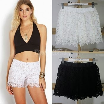 New Women Shorts Elastic High Waist Lace Shorts European Fashion Short Pants