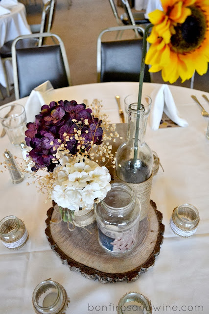 All Were Wrapped With A Mixture Of Burlap Lace And Jute One Jar On Each Table Had An Engagement Picture Printed Vellum Mod Podged To It